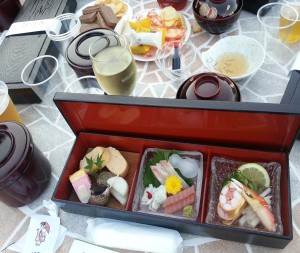 "Dinner served from traditional Japanese restaurant, which is called ""shidashi bento"" . Drinks are prepared by ourselves."