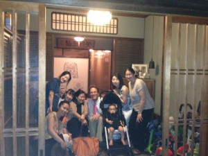 At the entrance of Mr. Jeff Berglund's house which is a traditional Machiya style house